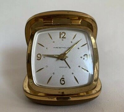 Westclock Travel Alarm Clock Vintage 1970s Mushroom Brown Leather Case Working