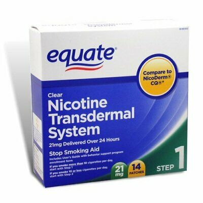 Equate, Nicotine Transdermal System, Stop Smoking Aid, 21 mg, 14 Clear Patches