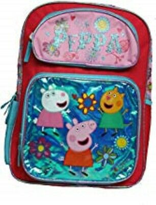 """Peppa Pig Metallic Blue 16"""" Backpack Adjustable straps+large compartments-New!"""
