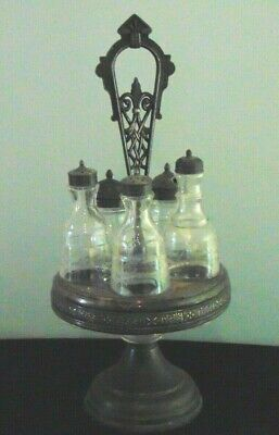 Antique Victorian Silver Plate Condiment Caddy W/Cut Glass Inserts Turns LOVELY
