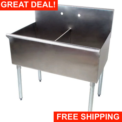 """36"""" 2 Compartment 18"""" x 21"""" x14 Stainless Steel Commercial Utility Prep Two Sink"""