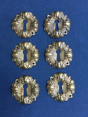 6 Vintage Pressed Stamped Brass Key Hole Escutcheon Covers Reclaimed Hardware