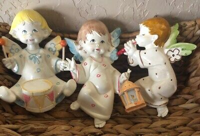 "3 Vintage Plastic Cherub Drummer Flute Angel One Holding Lamp 6.5"" Tall And 7"""