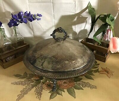 Vintage Trademark 1883 FB ROGERS SILVER CO Large Footed Serving Bowl w/Lid