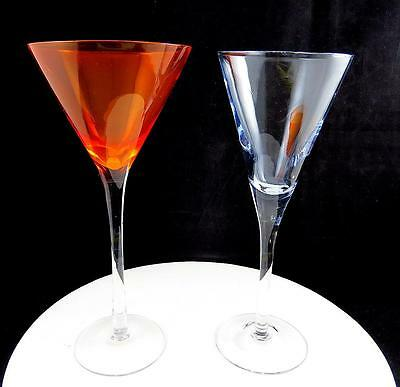 "Art Glass Hand Blown 2 Piece Lavender And Orange 8 1/2"" Champagne Glasses"