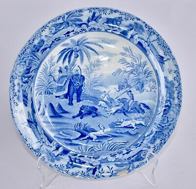 1830 Antique Spode INDIAN HUNTING Blue & White Plate 25cm