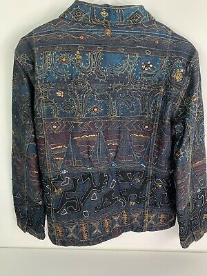 CHICOS Women's Denim Jacket Sz 1 Metallic Aztec Embroidered Sequins Beading Boho