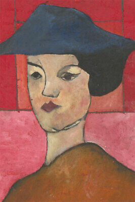 Ben Carrivick - Signed Contemporary Oil, Pink and Red Portrait Study