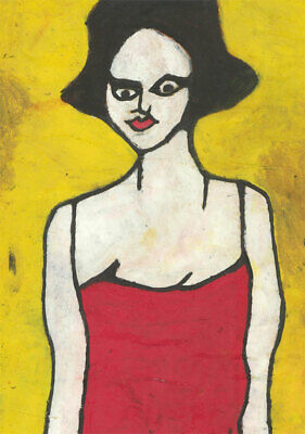 Ben Carrivick - Signed Contemporary Oil, Black Hair, Red Dress