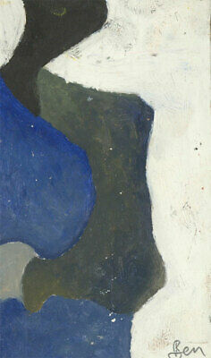 Ben Carrivick - Signed Contemporary Oil, Abstract Forms in Blue