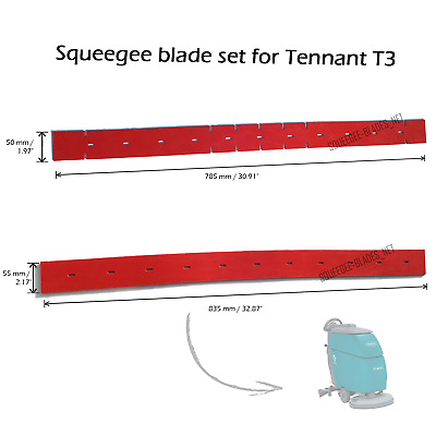 After market squeegee blade set for Tennant T3 (natural rubber)