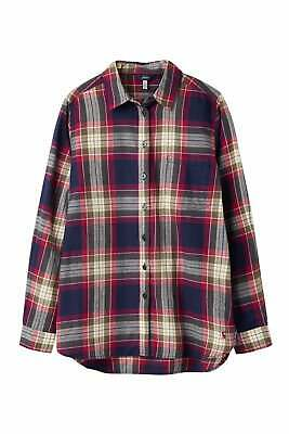 Joules Womens Lorena Longline Check Brushed Cotton Shirt - Berry Check