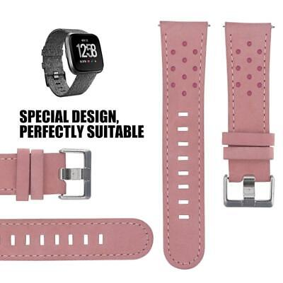 Wristband Breathable Soft Leather Watch Band Strap for Fitbit Versa (Pink)