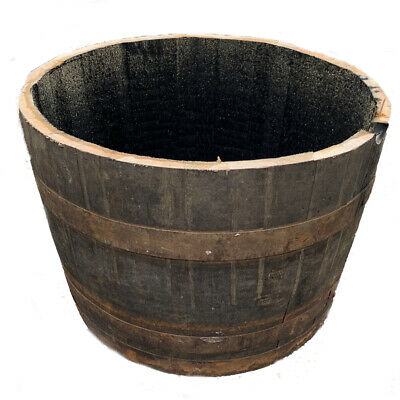 Garden planter pot Recycled Authentic Large Solid Half whiskey plant Oak Barrel