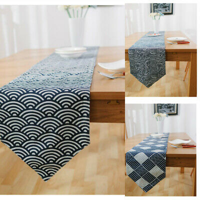 Navy Wave Stripe Table Runner Modern Linen Cotton Home Textile For Family Party
