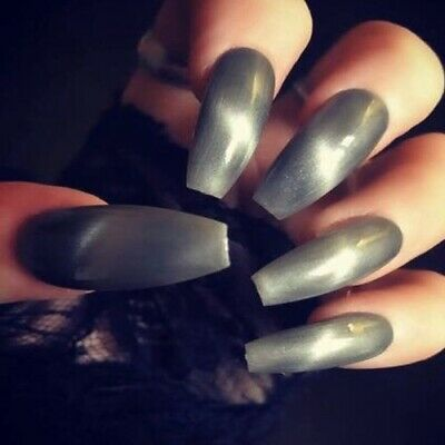 Hand Painted Coffin Extra Long False Nails Grey Gel Press On Nails