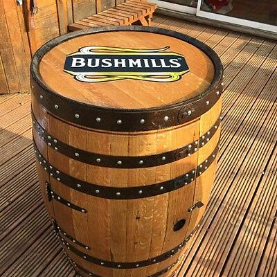 "Recycled Solid Oak Wooden Whiskey Barrel Bushmills ""Balmoral"" Drinks Wine Rack"