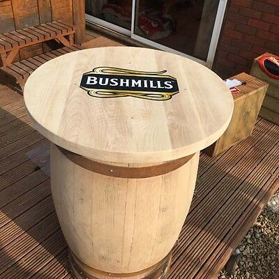Solid Wooden Oak Recycled Whiskey Cask Bushmills Branded Pub Table | Patio Table