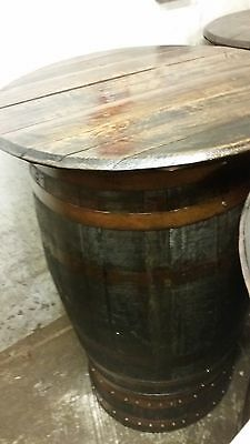Recycled Wooden Rustic Solid Oak Whisky Barrel Pub  Garden | Patio Table Vintage