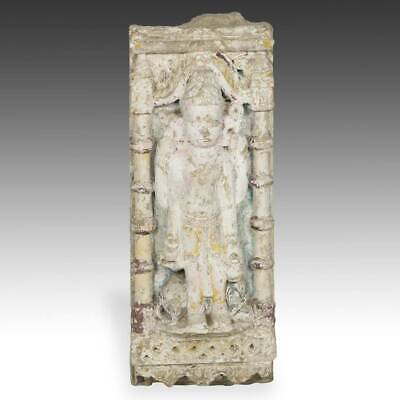 Antique Temple Fragment With Figure Carved Painted Stone Jain India 18Th C.