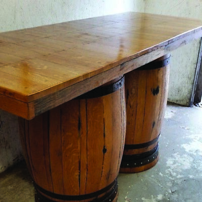 Recyclé Solide Bois Chêne Double Whisky Tonneau Barre Table Patio Table