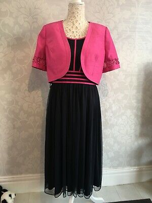 Jacques Vert Navy And Pink 2 Piece Dress And Jacket Mother Of Bride/groom 14