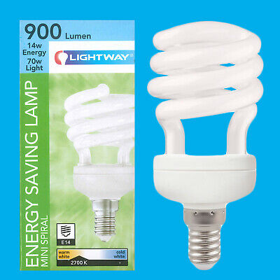 3x 14W Low Energy CFL Mini Spiral Light Bulbs; E14 UK Stock SES Small Screw
