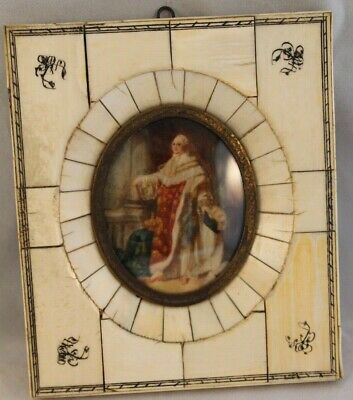 Antique French Portrait Miniature Portrait of Louis XVI After François Callet