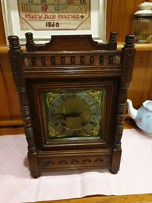 Antique Winterhalder & Hofmeier  Oak Cased ting tang mantel clock (8 days )