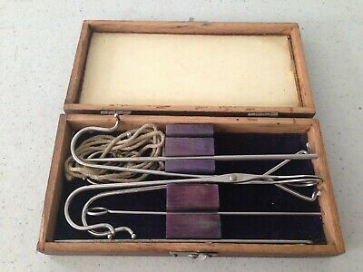 Set of Antique Medical Tools Caponizing Set? w/ Wooden Case