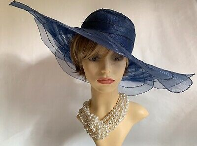 Navy Blue Sinamay Flower Shaped Formal Dress Hat Rear Rose Feather & Bow Detail