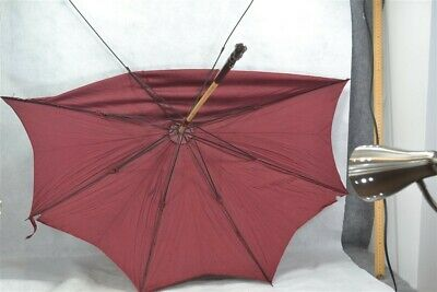 "parasol umbrella lg 39"" top wool rod metal ribs  original antique parts"