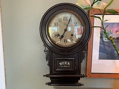 Antique REGULATOR WOOD WALL Hanging CLOCK w/ Pendulum & Key ROYAL C.M.A Vintage