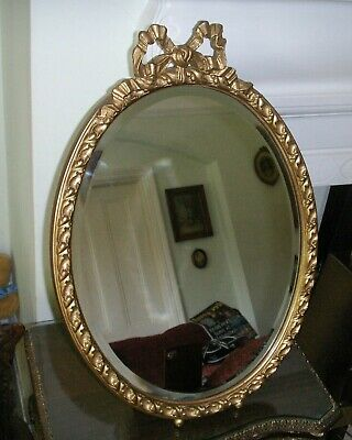 Old Antique Edwardian French Style Oval Dressing Table or Wall Bevelled Mirror