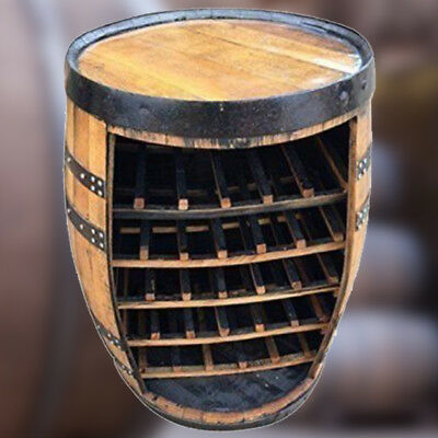 "Solid Wooden Oak Recycled Whisky Barrel ""Cork"" Wine Rack Drinks Table"