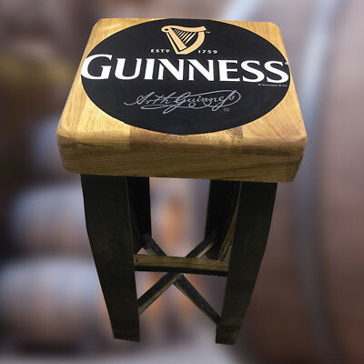 Solid Wooden Oak Whisky Barrel Guinness Branded Recycled Keg Bar Stool Vintage