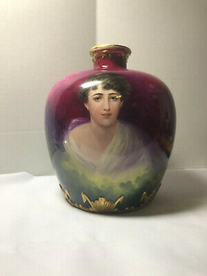 Antique Art Nouveau Royal Bonn German Signed Portrait of Woman on Vase