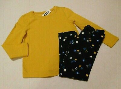 NWT 2pc Old Navy Yellow Top & Navy Floral Leggings sz 4t