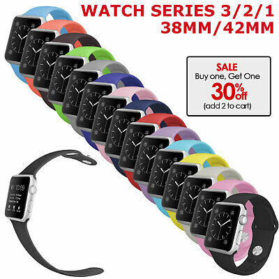 Apple Watch Series 3 2 1 38mm 42mm Replacement Band Silicone Strap For Women Men
