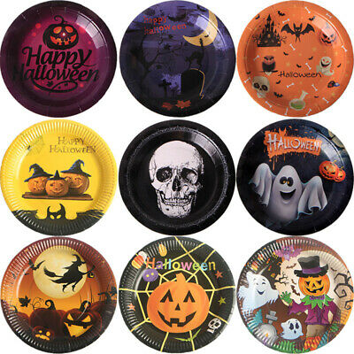 Halloween Paper Plates Spooky Pumpkin Disposable Tableware Dish Party Supplies