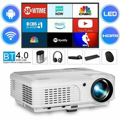 HD Bluetooth Smart Projector Android LED WiFi Video Home Theater Kodi HDMI USB