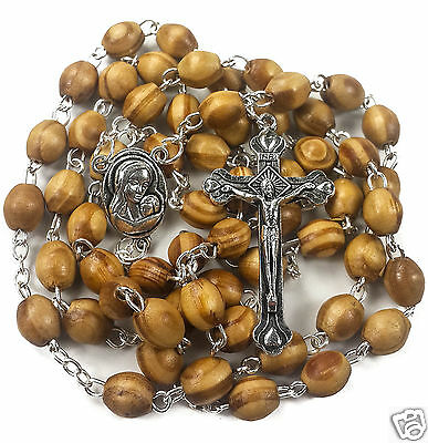 Catholic Prayer Rosary Olive Wood Beads Necklace Holy Soil Medal Cross Crucifix