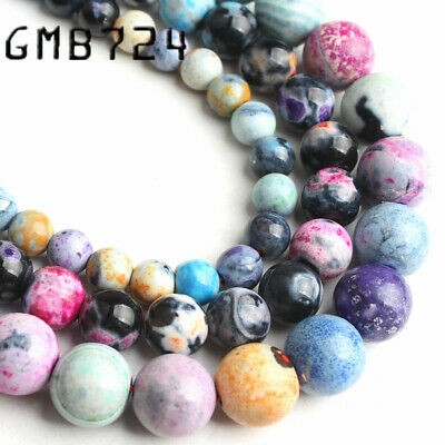 Natural Stone Colorful Flame Agate Round Loose Beads For Jewelry Making DIY Bead