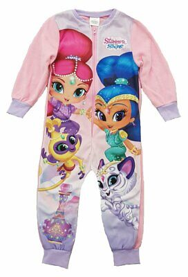 Girls Shimmer & Shine All In One Sleepsuit Kids Fleece Pyjamas Age 18m-5 Years