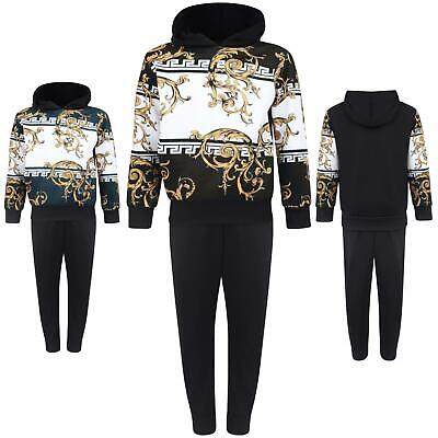 Boys Tracksuit Hoodie Paisley Aztec Pants Set Top Gold Pockets Girls 3-14 Years