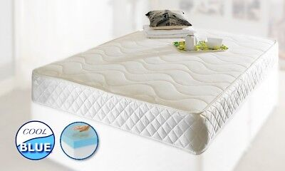 Touch Cool Blue Memory Foam Mattress Spring Mattress - All Uk Sizes Available