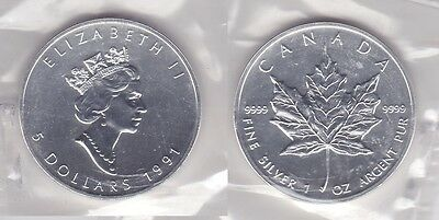 5 Dollar Silber Münze Canada Kanada Maple Leaf 1991 (118339)