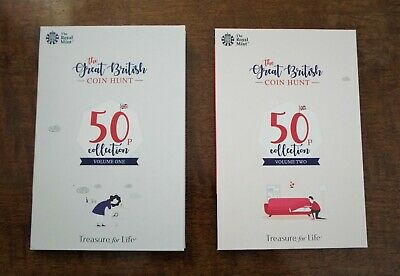 2019 Official Royal Mint Great British Coin Hunt 50p Albums Volumes 1 & 2 - NEW