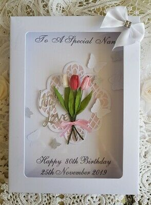 Handmade Personalised Birthday Card Pink Tulips- Any age/relation in Gift Box