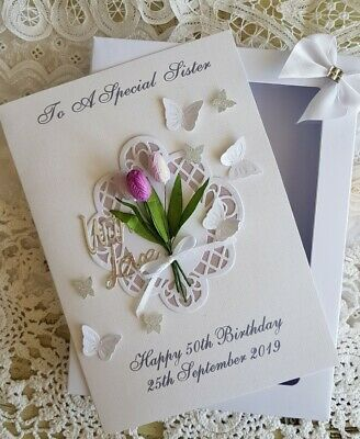 Handmade Personalised Birthday Card Purple Tulips- Any age/relation in Gift Box